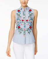 NY Collection Petite Cotton Embroidered Striped Shirt