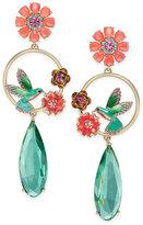 Kate Spade Gold-Tone Multi-Stone Hummingbird & Flower Drop Earrings