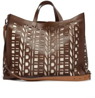 Fendi Cut-out Logo Leather Shopper Bag - Mens - Brown