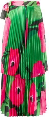 Richard Quinn Poppy Pleated Midi Skirt
