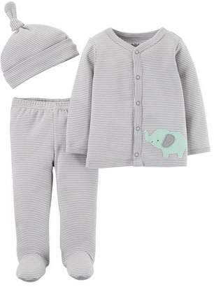 Carter's Child Of Mine By Long Sleeve Cardigan, Footed Pants & Cap, 3pc Outfit Set (Baby Boys or Baby Girls, Unisex)