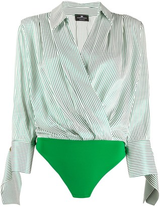 Elisabetta Franchi Striped Wrap Shirt Body