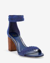 White House Black Market Braided Leather Chunky Heels