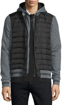 Moncler Puffer-Front Knit Hoodie, Gray