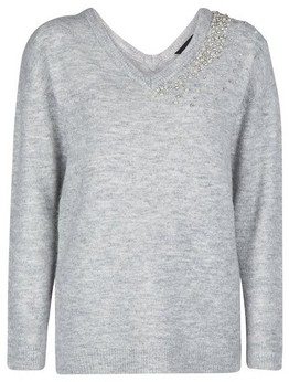 Dorothy Perkins Womens Grey Embellished V