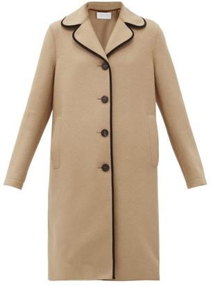 Harris Wharf London Clover-lapel Piped Pressed-wool Coat - Beige