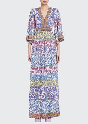 Alice + Olivia Lena Embroidered V-Neck Kimono-Sleeve Maxi Dress