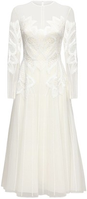 ZUHAIR MURAD Embellished Tulle Midi Dress