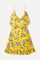 Les Rêveries Ruffled Floral-print Silk-crepe Mini Dress - Yellow