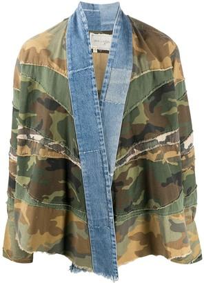 Greg Lauren Contrast Lapel Camouflage Print Jacket