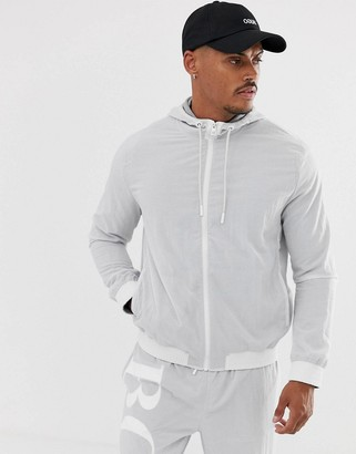 HUGO BOSS Zinc back logo track jacket in grey