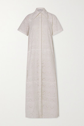Area Crystal-embellished Broderie Anglaise Cotton-blend Maxi Shirt Dress - White