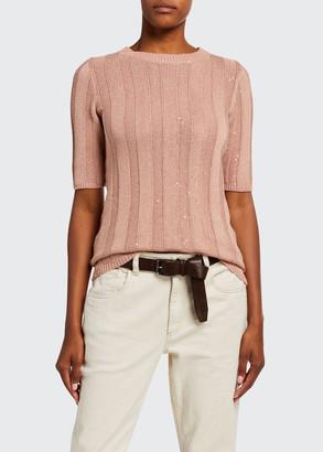 Brunello Cucinelli Wide-Ribbed Cotton-Lien 1/2-Sleeve Sweater