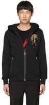 Alexander McQueen Black Embroidered Lion Zip Hoodie