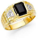 Paradise Jewelers 14K Solid Gold Thick Black Cubic Zirconia Men's Band Ring, Size 13