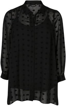 Evans Dobby Dipped Back Shirt - Black