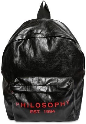 Philosophy di Lorenzo Serafini Logo Print Faux Leather Backpack