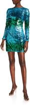 Sho Long-Sleeve Ombre Sequin Mini Dress