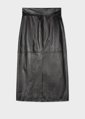 Paul Smith Women's Black Leather Skirt