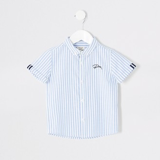 River Island Mini boys blue stripe button down shirt