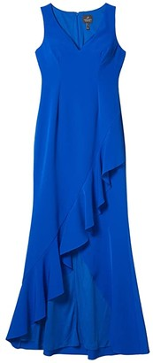 Adrianna Papell Asymmetrical Ruffle Gown (Blue Sapphire) Women's Dress