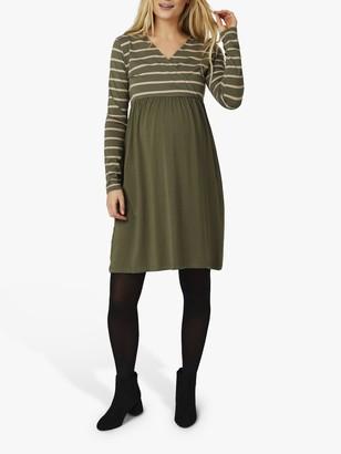 Mama Licious Mamalicious Madelleine Tess Stripe Jersey Maternity Dress, Dusty Olive