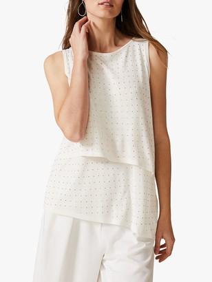 Phase Eight Sia Stud Sleeveless Knit Top, Ivory