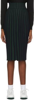 Kenzo Green and Black Pleated Midi Skirt
