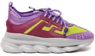 Versace Chain Reaction Leather & Mesh Sneakers