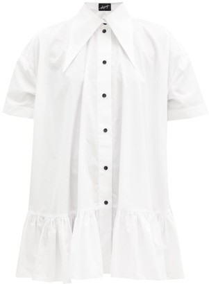 Elzinga - Exaggerated-collar Poplin Mini Dress - White