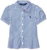 Ralph Lauren Striped Poplin Peplum Shirt