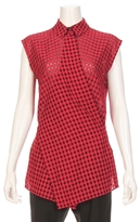 Alexander Wang Checkered Sleeveless Wrap Tie Blouse