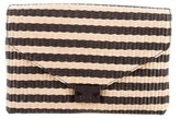 Loeffler Randall Striped Raffia Lock Clutch