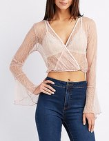 Charlotte Russe Lace Surplice Crop Top