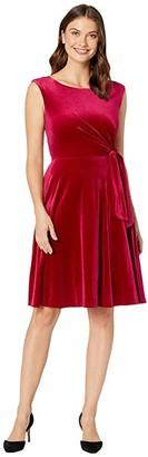 Tahari ASL Stretch Velvet Side Tie Dress (Ruby) Women's Dress
