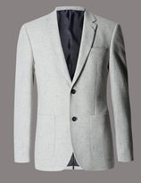 Marks And Spencer Wool Rich Textured 2 Button Jacket With Silk