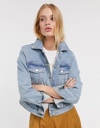 Selected bair cropped denim jacket in blue