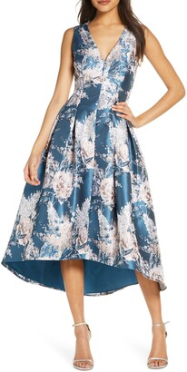 Eliza J Metallic Floral Jacquard High/Low Dress