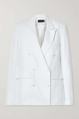 RtA Clark Oversized Double-breasted Linen And Cotton-blend Twill Blazer - White