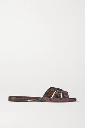 Saint Laurent Nu Pieds Woven Tortoiseshell-effect Patent-leather Slides - Brown
