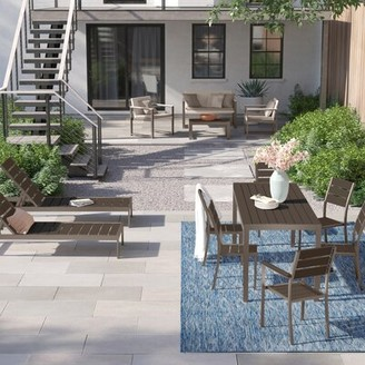 FoundstoneTM Kiera 13 Piece Complete Patio Set with Cushions Foundstone Frame Color/Cushion Color: Gray/Gray