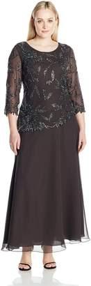 J Kara Women's Plus Size Long Scoop Neck Dress with 3/4 Sleeve Beaded Top