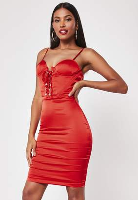 Missguided Red Satin Hook And Eye Midi Dress