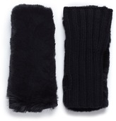 Yves Salomon Rabbit fur and cashmere-wool knit fingerless gloves