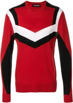 Neil Barrett contrast stripe embroidered sweater