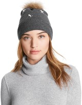 Aqua Knit Hat with Asiatic Raccoon Fur Pom-Pom