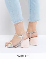Asos Hot Gossip Wide Fit Embellished Fur Heels