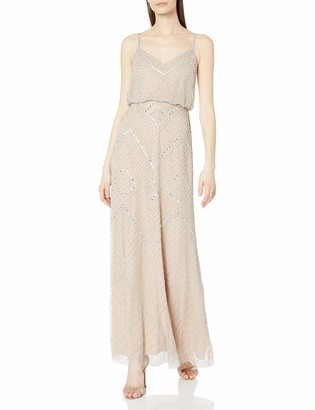 Adrianna Papell Women's Beaded Spaghetti Strap Gown