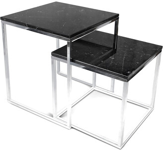 Temahome Set Of 2 Prairie Nesting Tables With Marble Tops