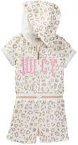 Juicy Couture Animal Glitter Print Hooded Terry Romper (Toddler Girls)